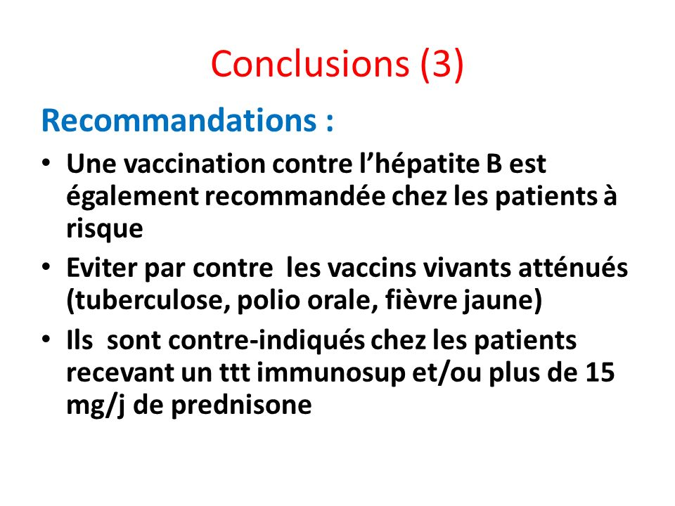Conclusions (3) Recommandations :