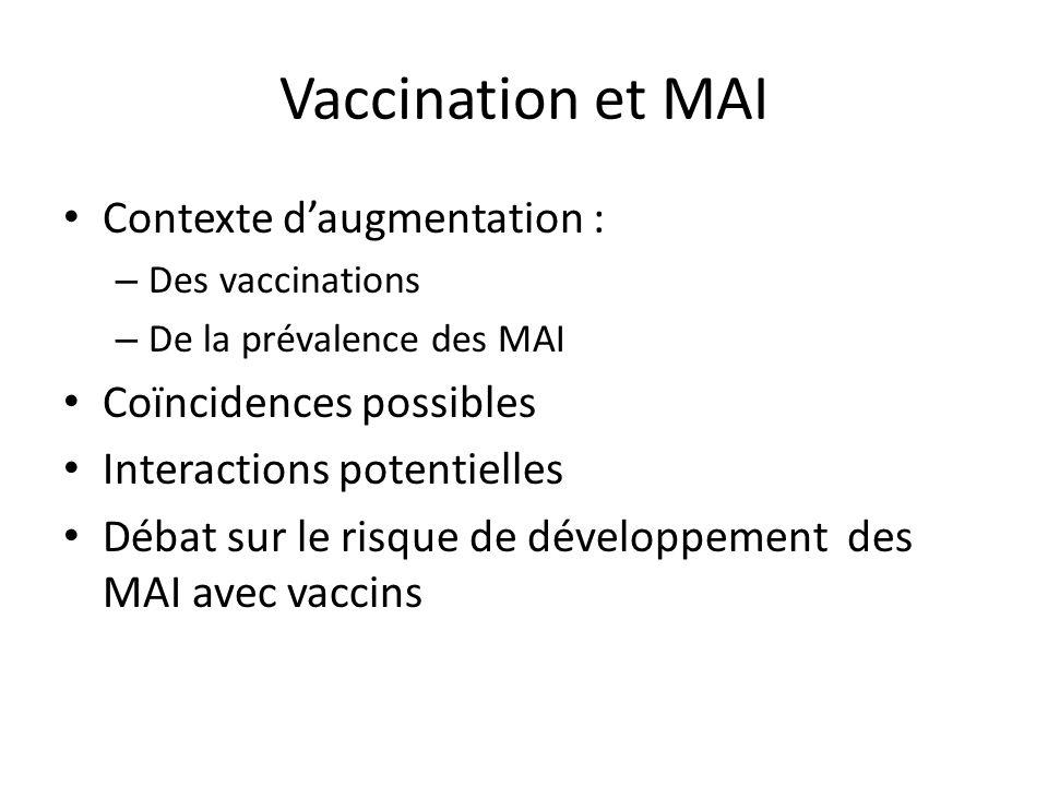 Vaccination et MAI Contexte d'augmentation : Coïncidences possibles
