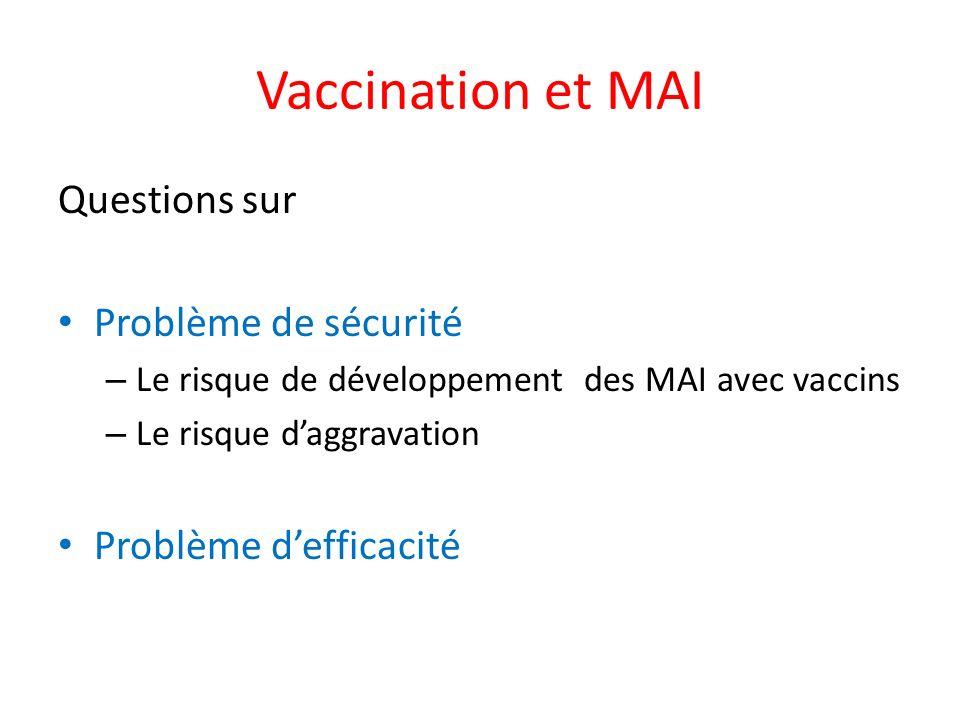 Vaccination et MAI Questions sur Problème de sécurité