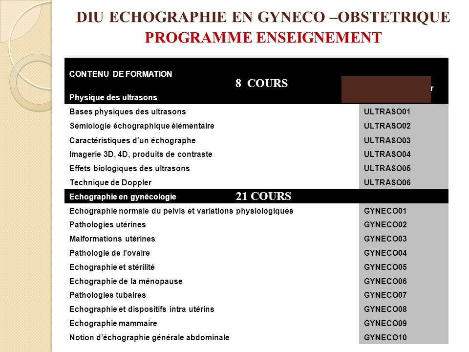 DIU ECHOGRAPHIE EN GYNECO –OBSTETRIQUE PROGRAMME ENSEIGNEMENT
