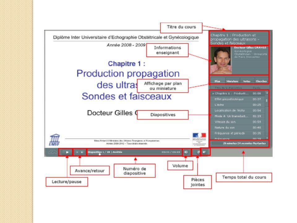 Fenêtre du DIU; accès aux cours par identifiants; cours diaporamas pouvant être suivi avec plusieurs possibilités de réglages