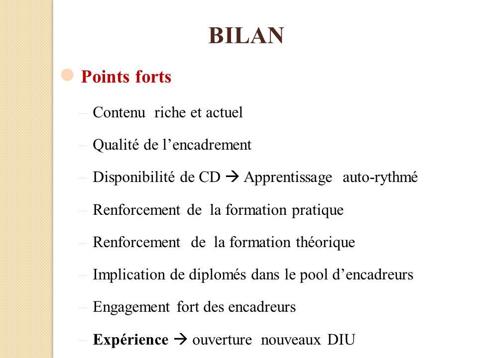 BILAN Points forts Contenu riche et actuel Qualité de l'encadrement
