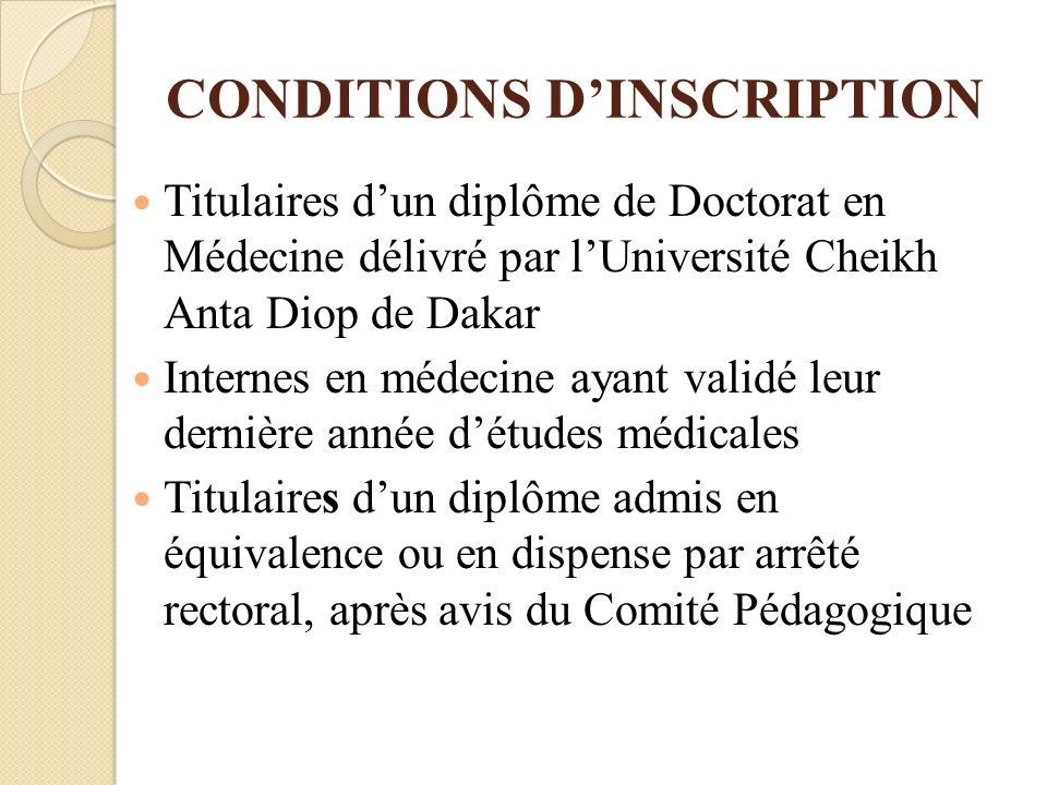 CONDITIONS D'INSCRIPTION