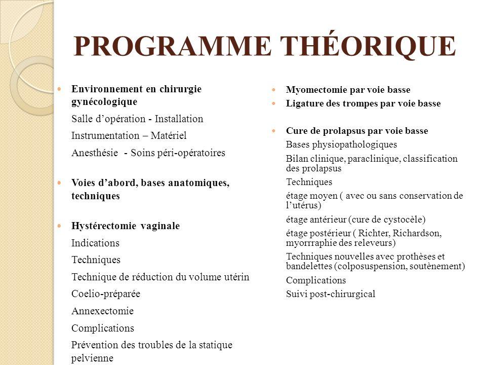 PROGRAMME THÉORIQUE Environnement en chirurgie gynécologique