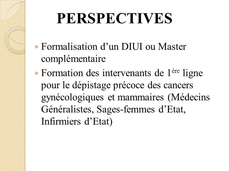 PERSPECTIVES Formalisation d'un DIUI ou Master complémentaire