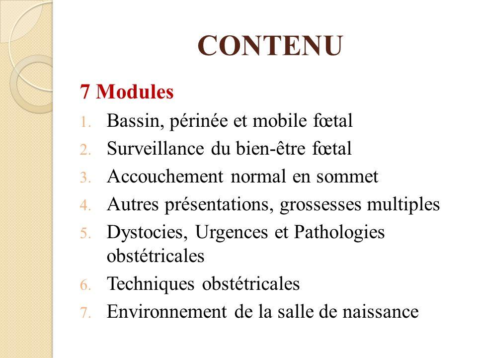 CONTENU 7 Modules Bassin, périnée et mobile fœtal