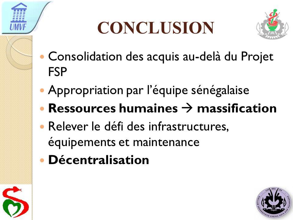 CONCLUSION Consolidation des acquis au-delà du Projet FSP