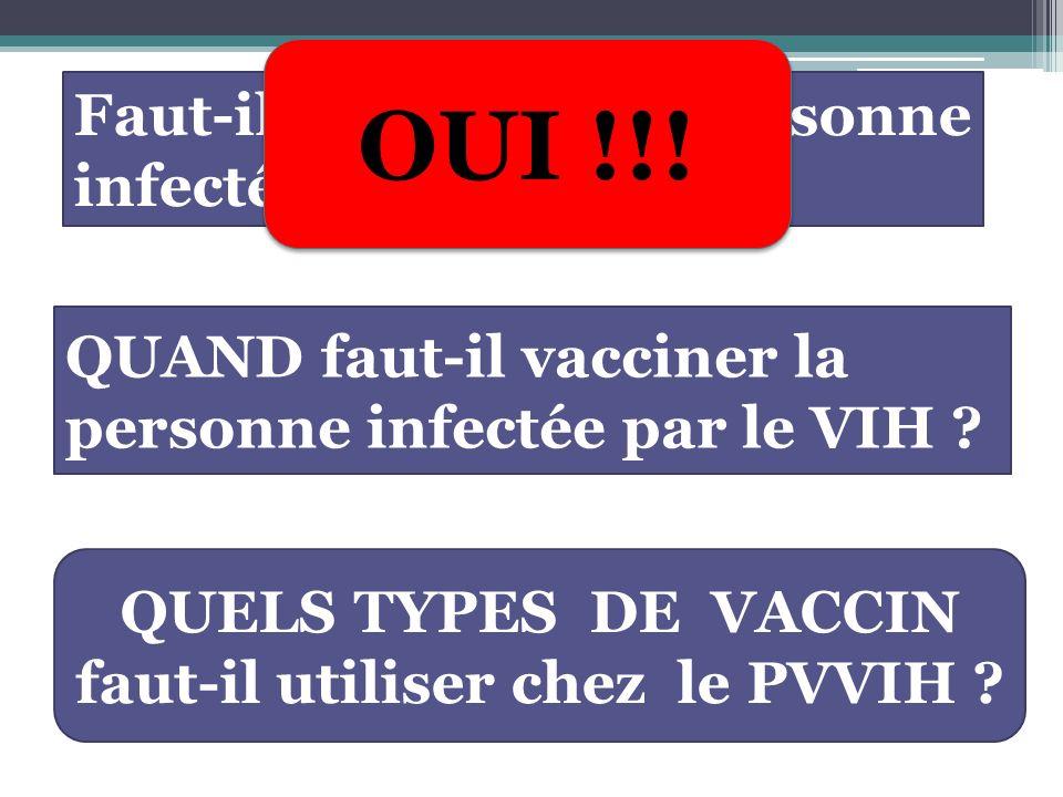 QUAND faut-il vacciner la personne infectée par le VIH