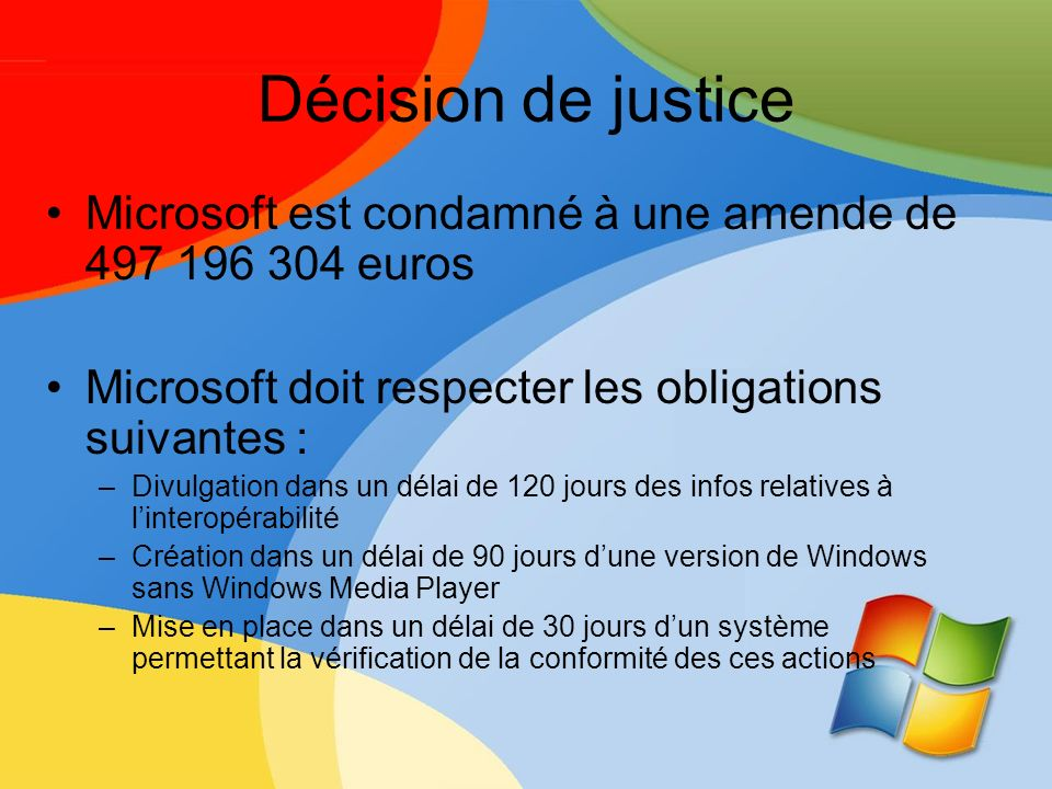 Décision de justice Microsoft est condamné à une amende de 497 196 304 euros. Microsoft doit respecter les obligations suivantes :