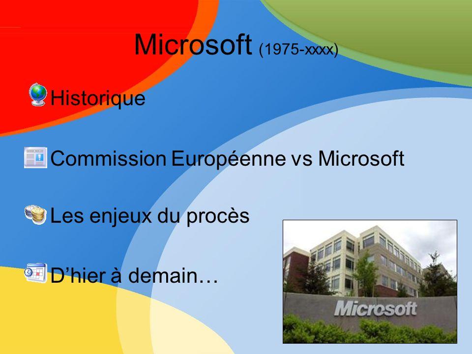 Microsoft (1975-xxxx) Historique Commission Européenne vs Microsoft
