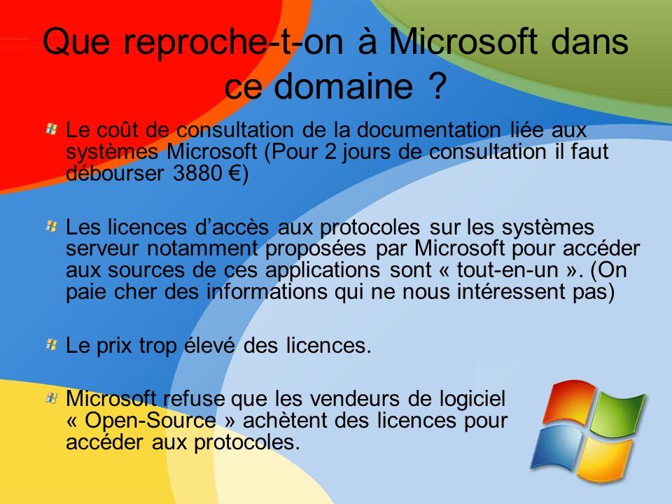 Que reproche-t-on à Microsoft dans ce domaine
