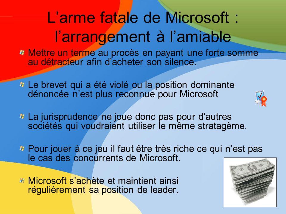 L'arme fatale de Microsoft : l'arrangement à l'amiable