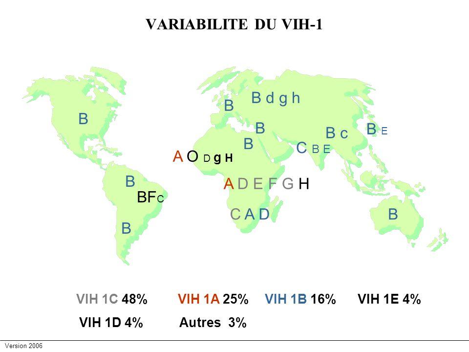 VARIABILITE DU VIH-1 B d g h B B E B c C B E A O D g H A D E F G H BFC