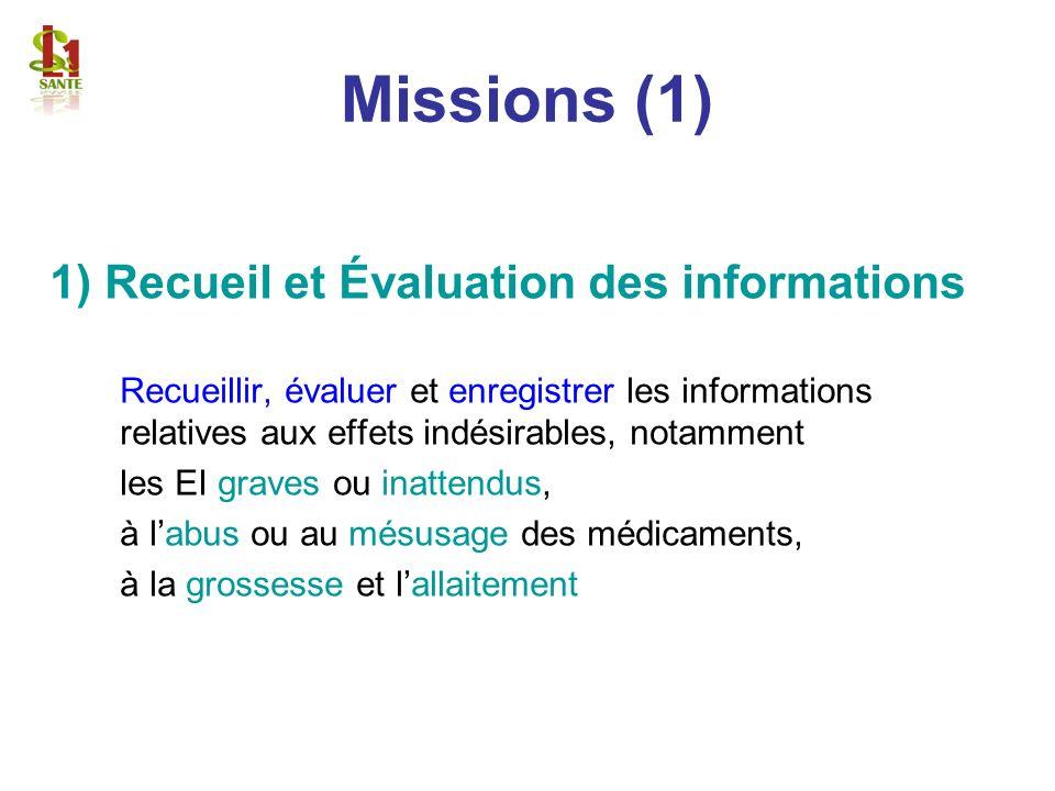 Missions (1) 1) Recueil et Évaluation des informations