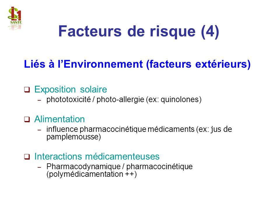 Facteurs de risque (4) Liés à l'Environnement (facteurs extérieurs)