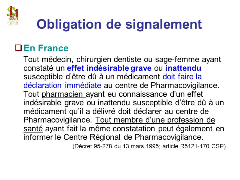 Obligation de signalement