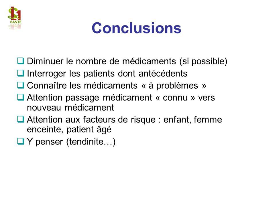 Conclusions Diminuer le nombre de médicaments (si possible)