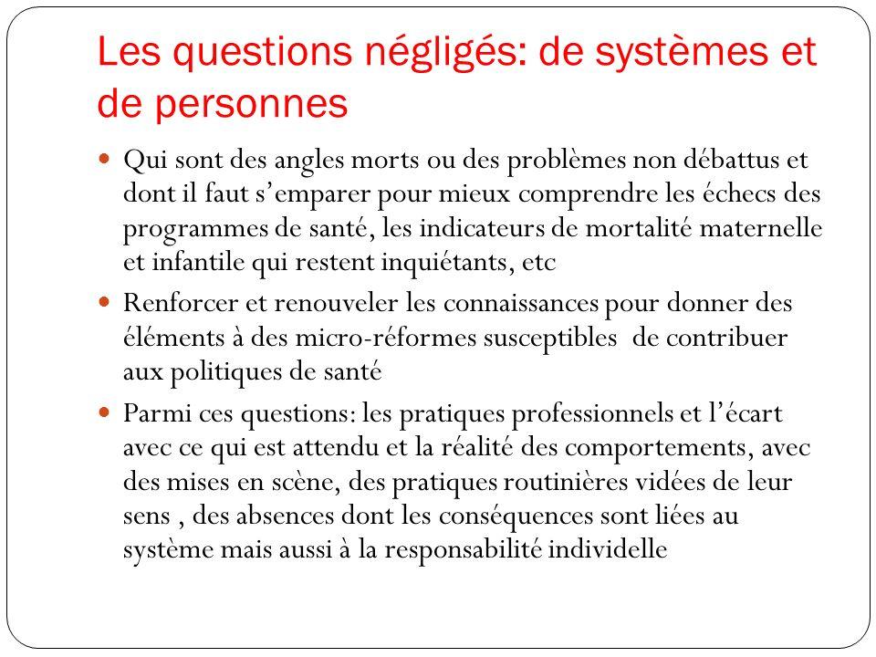 Les questions négligés: de systèmes et de personnes
