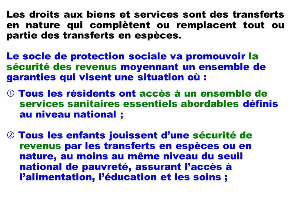 Les droits aux biens et services sont des transferts en nature qui complètent ou remplacent tout ou partie des transferts en espèces.