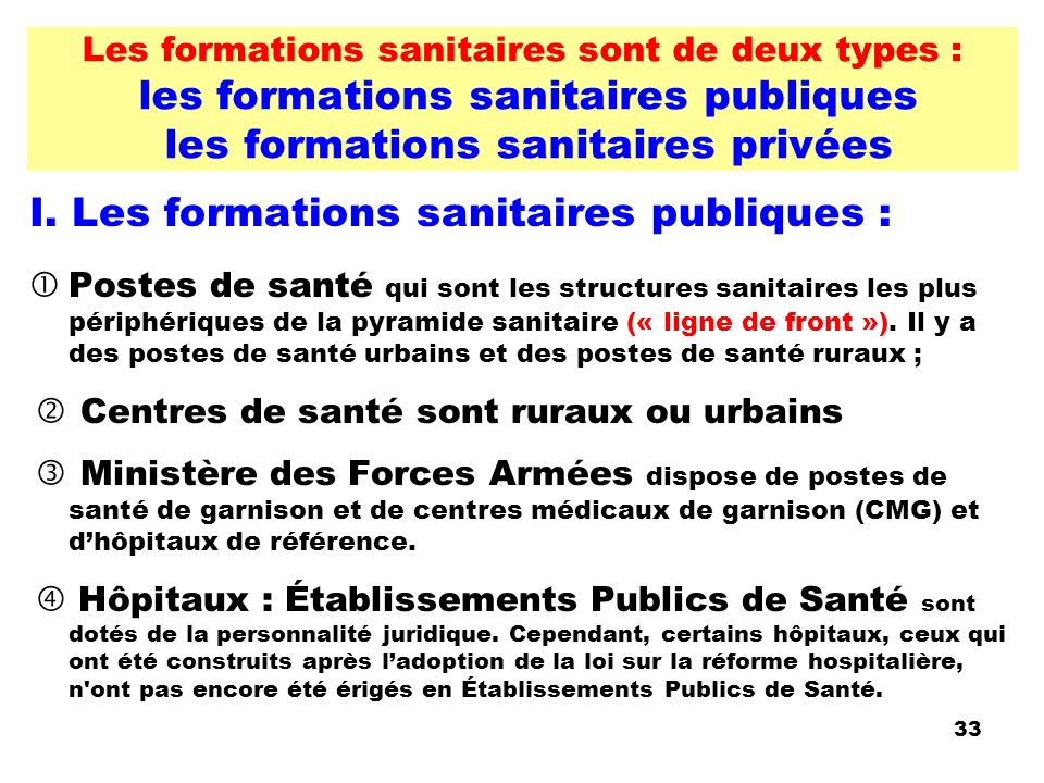 I. Les formations sanitaires publiques :