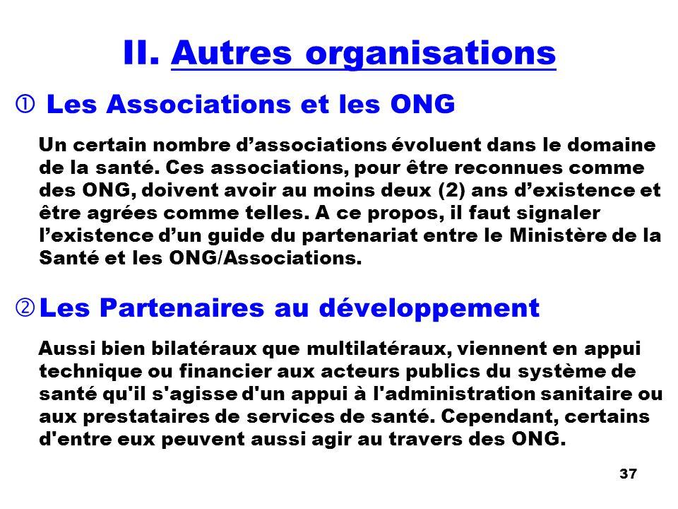 II. Autres organisations