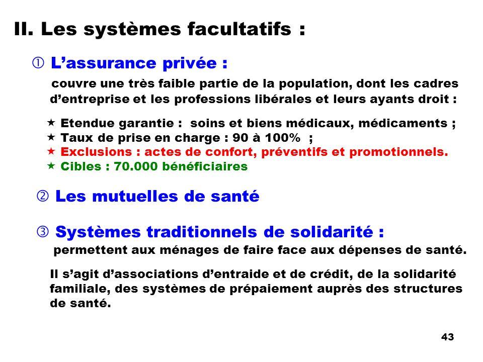 II. Les systèmes facultatifs :