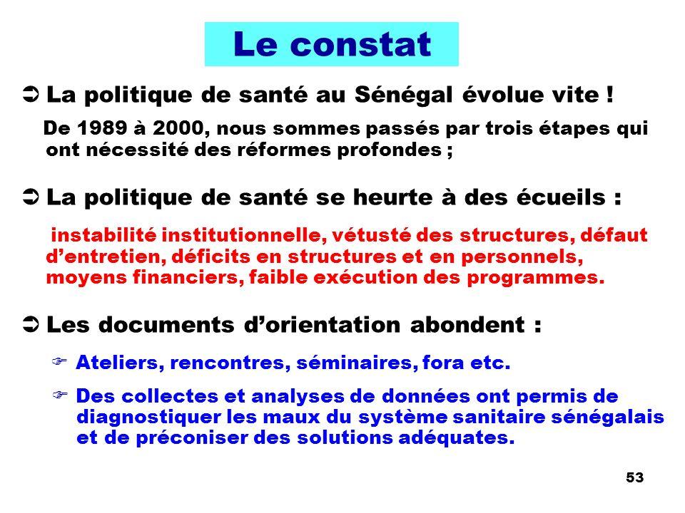 Le constat La politique de santé au Sénégal évolue vite !