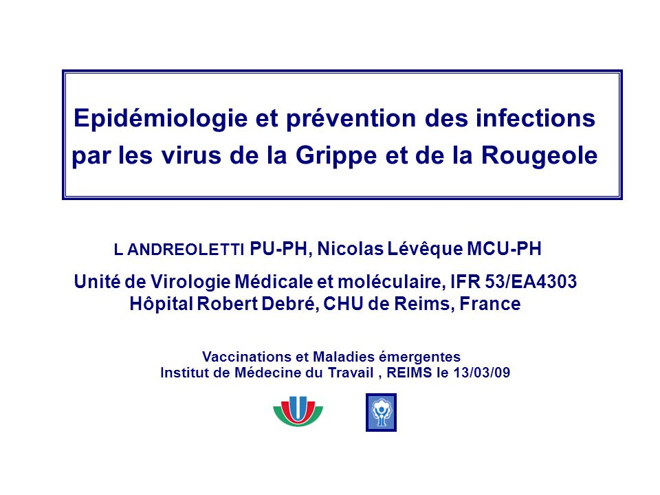 Epidémiologie et prévention des infections