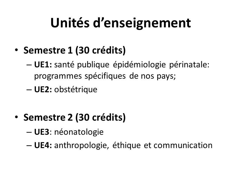 Unités d'enseignement