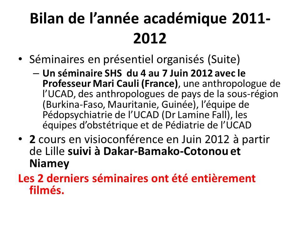 Bilan de l'année académique 2011-2012