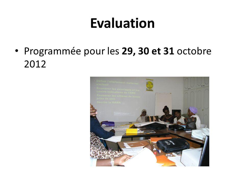 Evaluation Programmée pour les 29, 30 et 31 octobre 2012