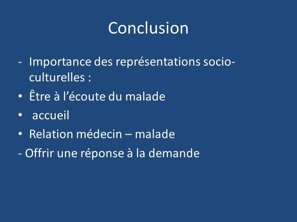 Conclusion Importance des représentations socio-culturelles :