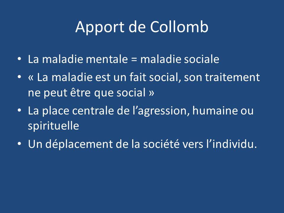 Apport de Collomb La maladie mentale = maladie sociale