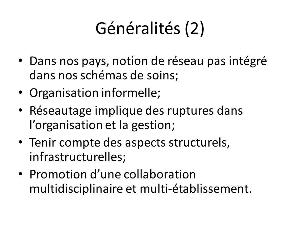 Généralités (2) Dans nos pays, notion de réseau pas intégré dans nos schémas de soins; Organisation informelle;