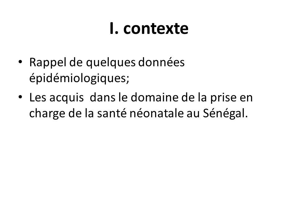 I. contexte Rappel de quelques données épidémiologiques;