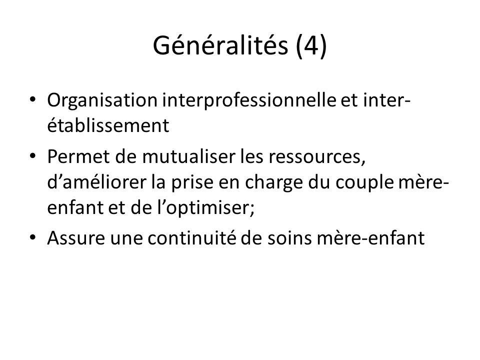 Généralités (4) Organisation interprofessionnelle et inter-établissement.