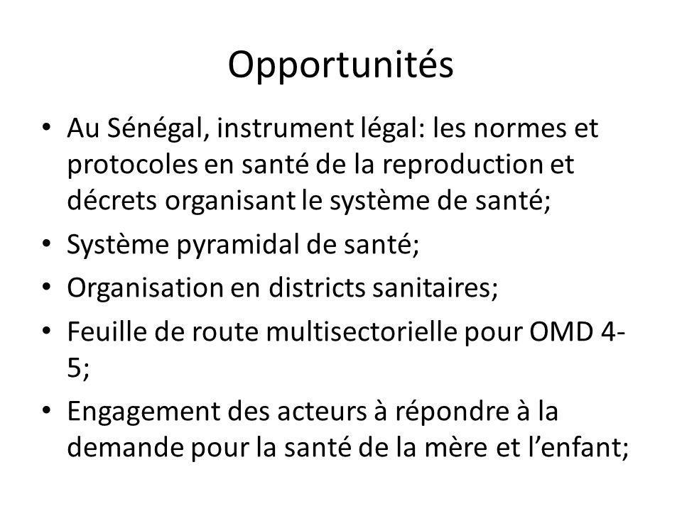 Opportunités Au Sénégal, instrument légal: les normes et protocoles en santé de la reproduction et décrets organisant le système de santé;