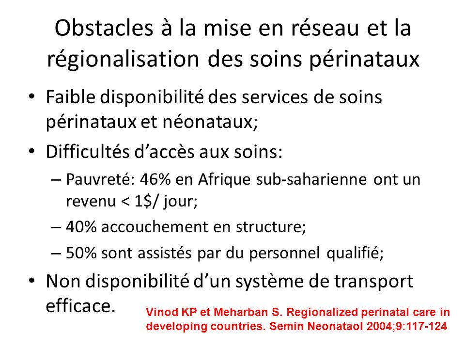 Obstacles à la mise en réseau et la régionalisation des soins périnataux