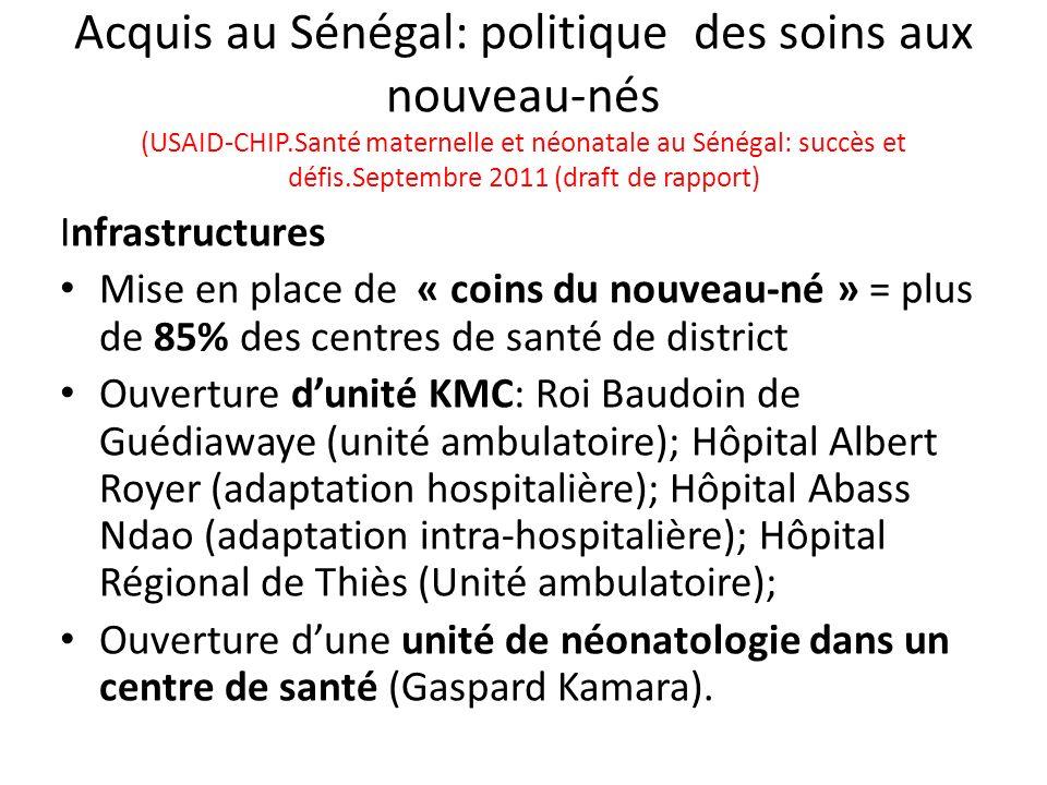 Acquis au Sénégal: politique des soins aux nouveau-nés (USAID-CHIP
