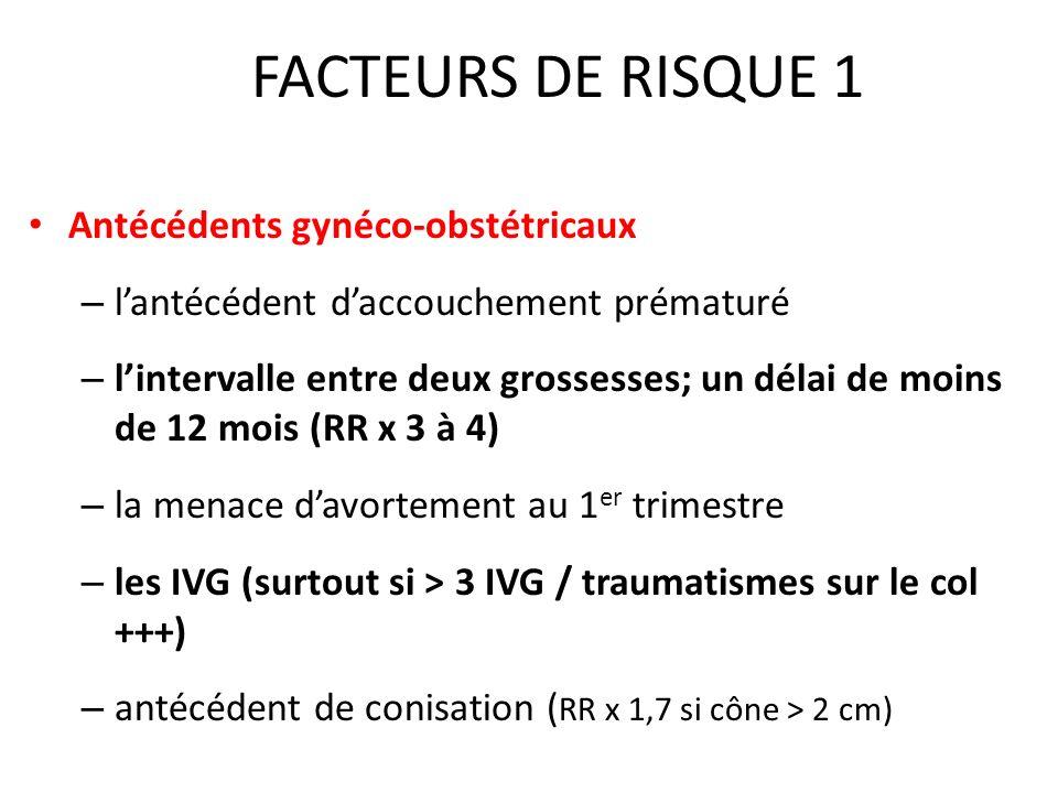 FACTEURS DE RISQUE 1 Antécédents gynéco-obstétricaux
