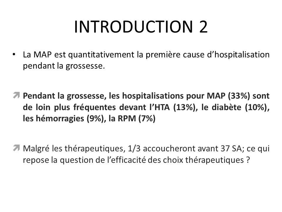 INTRODUCTION 2 La MAP est quantitativement la première cause d'hospitalisation pendant la grossesse.