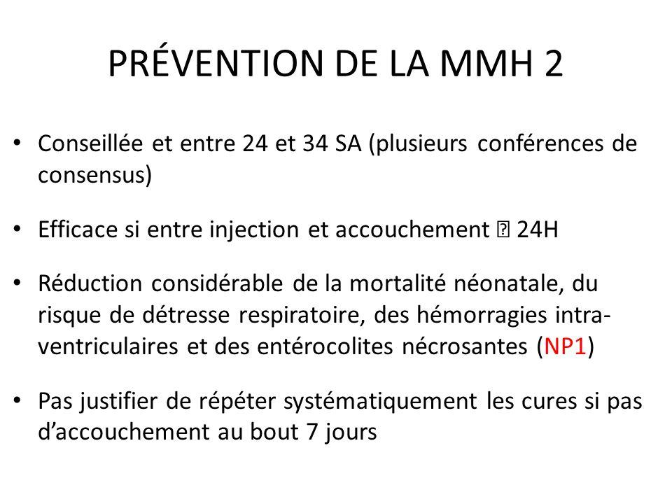 PRÉVENTION DE LA MMH 2 Conseillée et entre 24 et 34 SA (plusieurs conférences de consensus) Efficace si entre injection et accouchement  24H.
