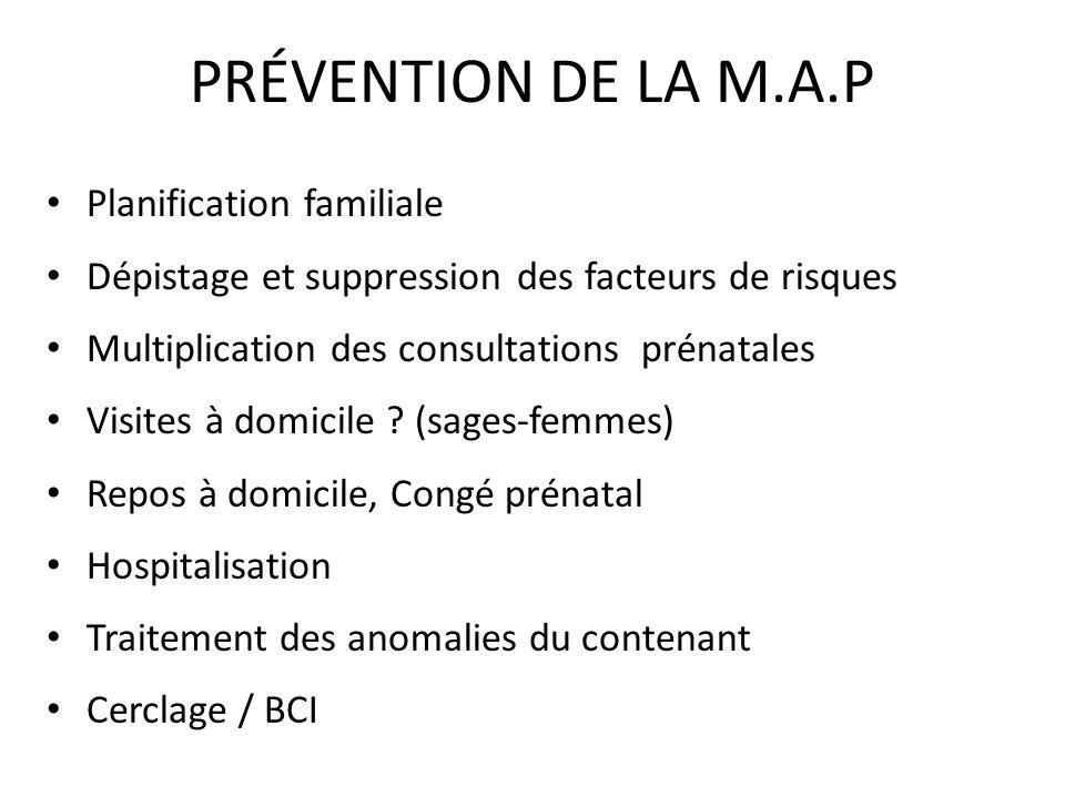 PRÉVENTION DE LA M.A.P Planification familiale