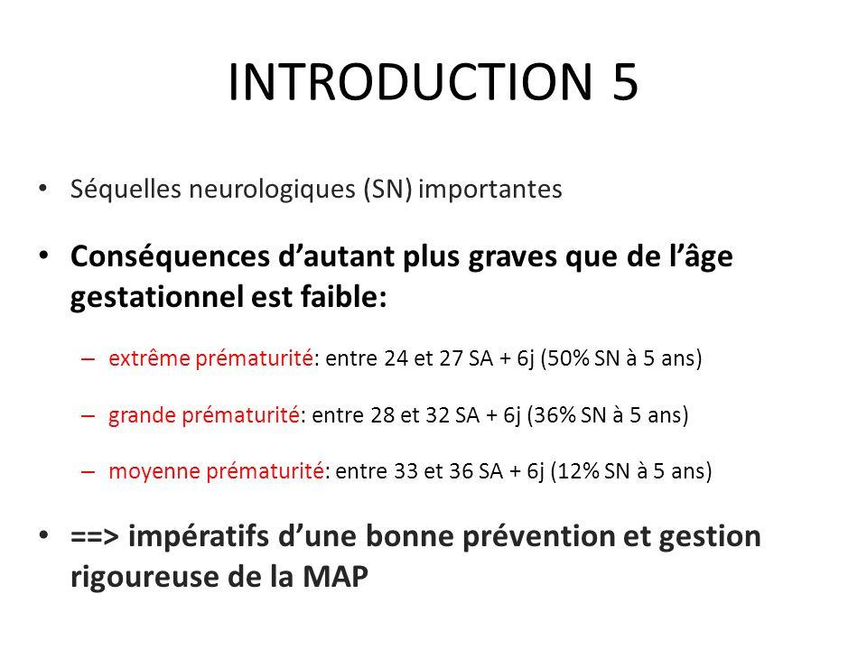 INTRODUCTION 5 Séquelles neurologiques (SN) importantes. Conséquences d'autant plus graves que de l'âge gestationnel est faible: