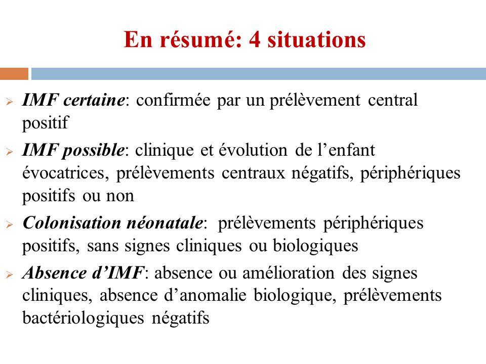 En résumé: 4 situations IMF certaine: confirmée par un prélèvement central positif.