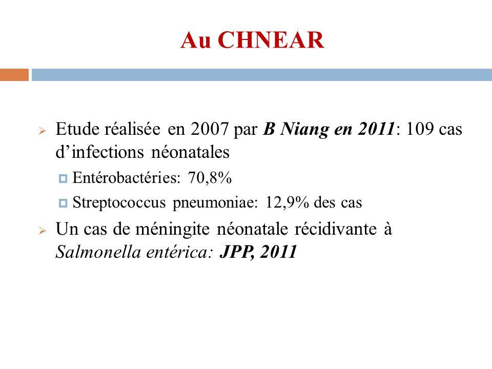Au CHNEAR Etude réalisée en 2007 par B Niang en 2011: 109 cas d'infections néonatales. Entérobactéries: 70,8%