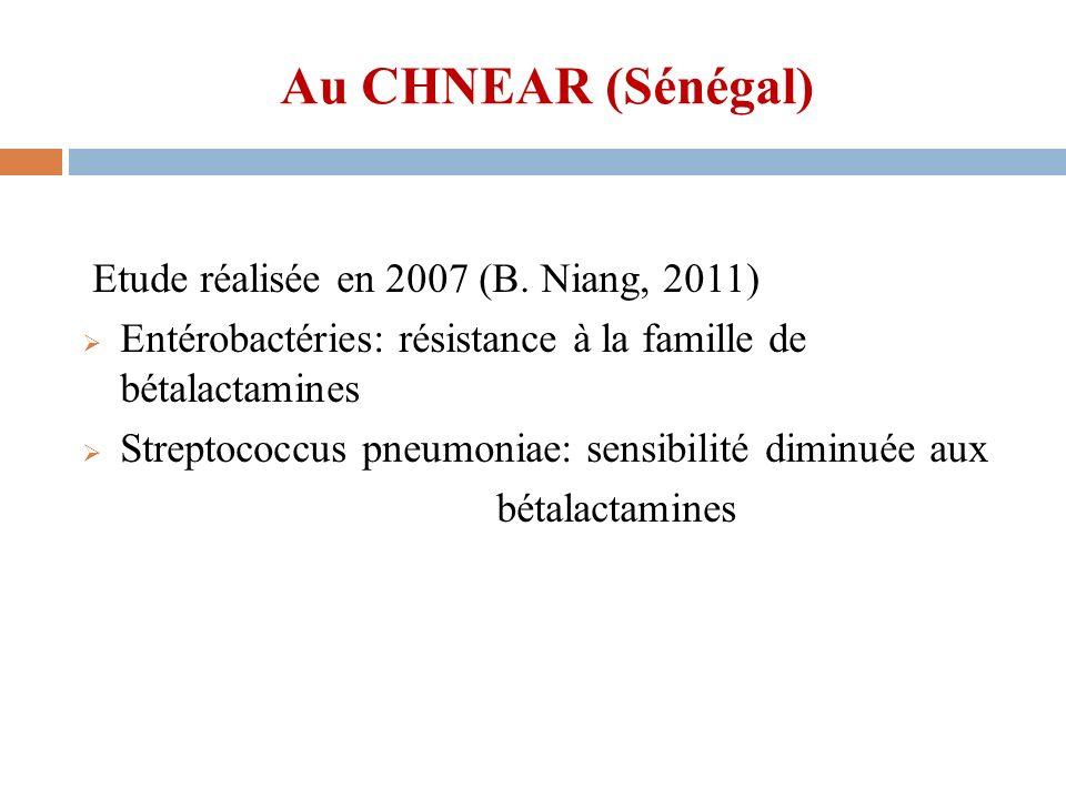 Au CHNEAR (Sénégal) Etude réalisée en 2007 (B. Niang, 2011)