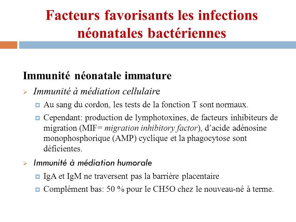 Facteurs favorisants les infections néonatales bactériennes