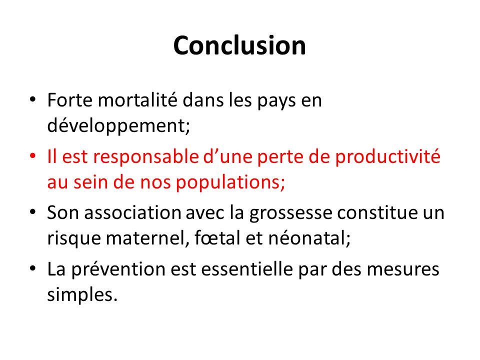 Conclusion Forte mortalité dans les pays en développement;