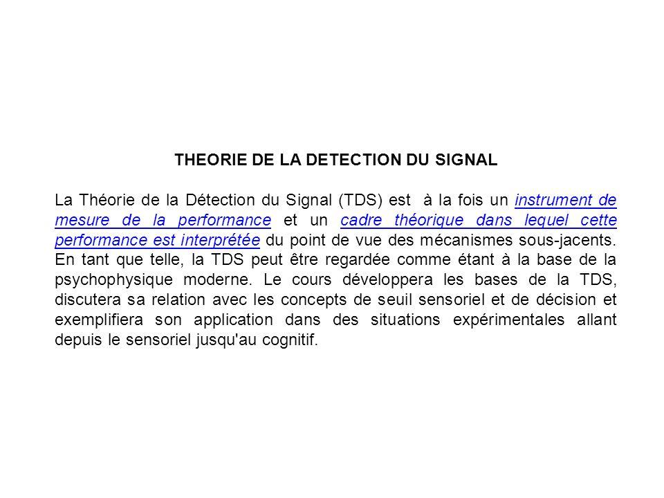 THEORIE DE LA DETECTION DU SIGNAL